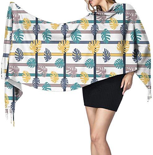 LiGHT-S Schal-Geometrische Farbstreifen , Dicker Wickelschal aus weicher Kaschmirwolle mit Pashmina-Schal für Herren
