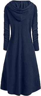 Women's Plus Size Long Sleeve Hooded Collar High Low Hem Ribbed Vintage Sweater Cloak