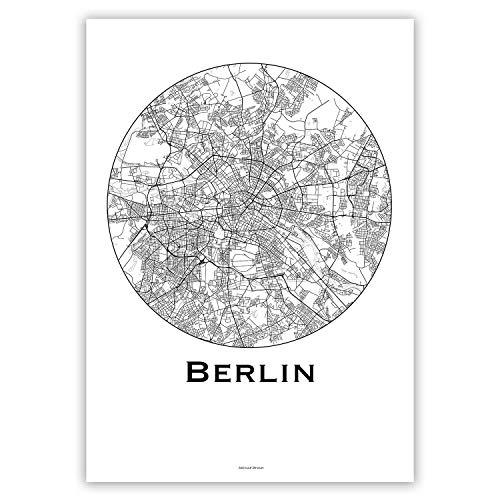 Plakat Berlin Deutschland Minimalist Map - Poster, City Map, Dekoration, Geschenk