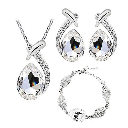 Beuya Mujer Conjunto de Joyas de Cristal Pendientes, Pulsera y Collar Colgante, Señoras Boda Fiesta decoración cumpleaños Regalo (Blanco)