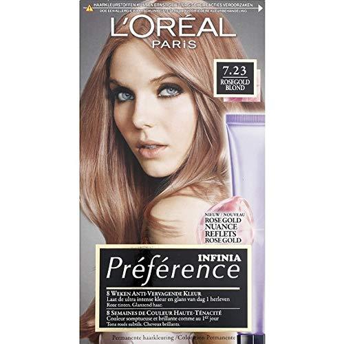 L'Oréal Paris – Haarfarbe Nr. 7,23 Rosegold Blond – Infinia Préférence – Set mit 210 ml – pro Stück