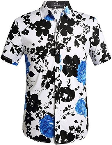 SSLR Herren Hawaiihemd Kurzarm Baumwolle Freizeithemd 3D Druck Blumen Muster Button Down Aloha Shirts (X-Large, Weiß Blau)