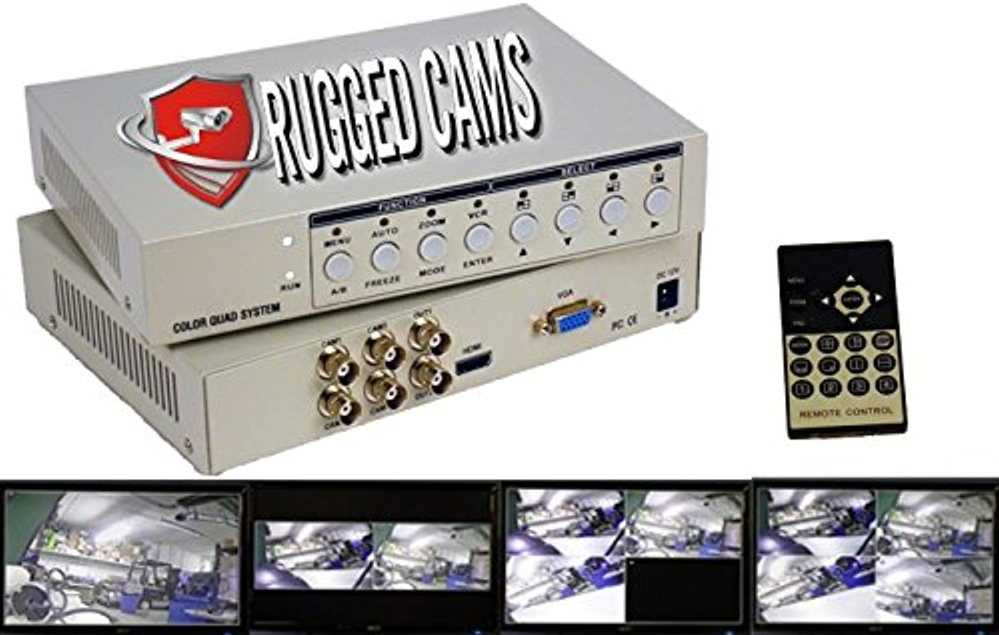 Rugged Cams - High Definition 1080p Quad Processor / Quad Splitter - TVI/AHD/Analog - HDMI/VGA/BNC Outputs - 4 Channel HD
