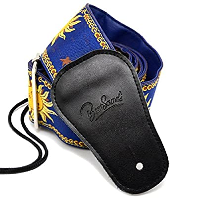 BestSounds Guitar Strap Genuine Leather Ends - Sun Jacquard Weave Strap For Bass Electric & Acoustic Guitars