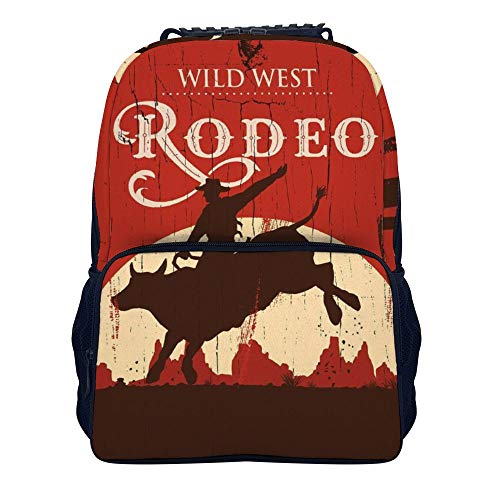 Cowboy Riding Bull Wooden School Backpack, Student Bookbag for Boys Girls Kids Teenagers, fit School, Travel, Outdoors