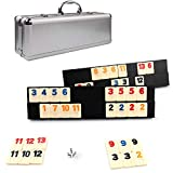 KAILE 106 Rummy Tiles Game, Rummy Cube Sets Travel Game Outlasting Color with Aluminum Case & 4 Anti-Skid Durable Trays