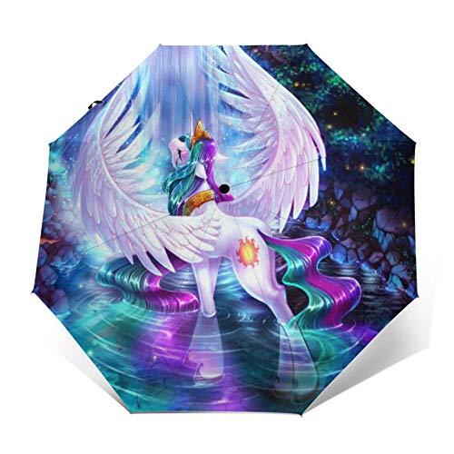 Paraguas automático triple plegable de unicornio, arco iris, árbol del bosque, impermeable, protector solar resistente al viento, plegable, paraguas para hombre y mujer al aire libre