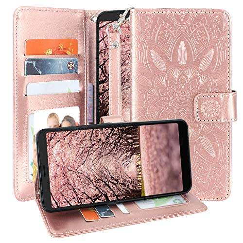 Harryshell Alcatel 3V Case, Kickstand Flip PU Leather Protective Wallet Case Cover with Card Slots Wrist Strap for Alcatel 3V 2019 5099A (Rose Gold)