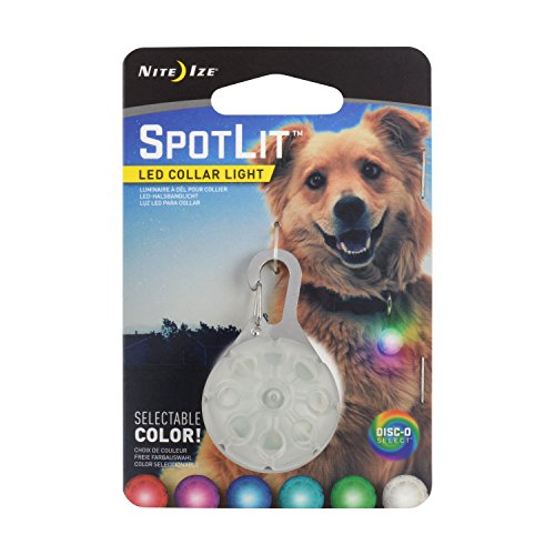 Nite Ize SpotLit LED Collar Light, Carabiner Clip Light for Keys + Pets, Glows + Flashes