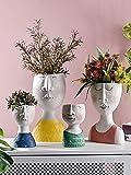 Macetero de resina con diseño de cabeza de retrato artístico, hecho a mano, para jardín, arreglo de flores para el hogar (color: mujer, tamaño de la hoja: grande)