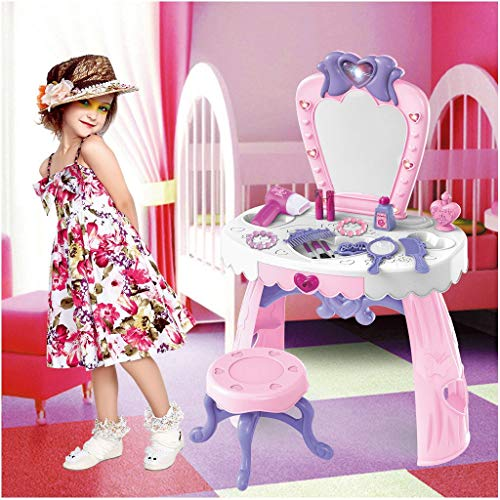 Toddler Beauty Dresser Table Play Set,Fashion Makeup Accessories Pretend Toy Pretend Play Kids Vanity Table and Beauty Play Set with Fashion & Makeup Accessories for Girls (Pink)