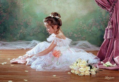 alles-meine.de GmbH Puzzle 500 Teile - Ballerina gemalt Mädchen romantisch Zeichnung Gemälde gemaltes