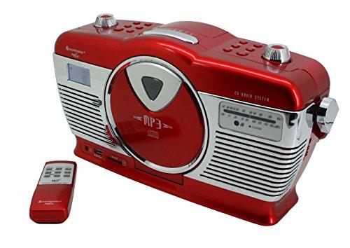 Soundmaster RCD1350RO Retro UKW Radio mit CD-MP3 Spieler USB und SD Slot sowie LCD Uhr mit Wecker