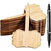 Whaline 60Pcs Bamboo Plant Labels with 1 Marker Pen Eco-Friendly T-Type Wooden Plant Sign Tags Wood Garden Markers Decorative Garden Tags for Seed Potted Herbs Flowers Vegetables (6.5 X 10 cm)