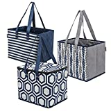 Planet E Reusable Grocery Shopping Bags – 2 Large Collapsible Boxes & 1 Large Collapsible Insulated zippered Cooler with Reinforced Bottoms Made of Recycled Plastic (Pack of 3) …