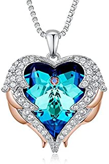NEWNOVE Mothers Day Necklace Love Heart Pendant Necklaces for Women Made with Swarovski Crystals