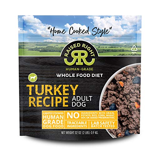 "Raised Right Turkey Human-Grade Frozen Dog Food, Low Carb ""Home Cooked Style"" Whole Food Diet - 2 lb. Bag, 8 Count"