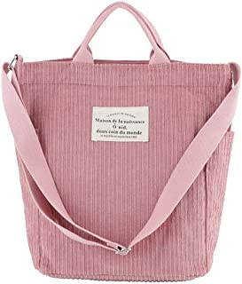 Ulisty Damen Cord Schultertasche Lässige Handtasche Mode Schultasche Umhängetasche Rosa