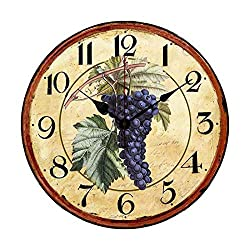 Old Fashioned Purple Grape Antique Wood Clock with Second Hand Wall Clock for Kitchen 10 inches