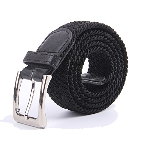 Canvas Elastic Fabric Woven Stretch Multicolored Braided Belts 2041-Black-L