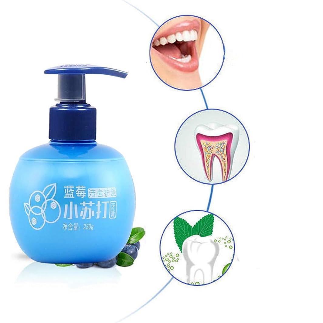 用心する透過性累積プレスタイプのホワイトニング練り歯磨き[歯の汚れを強く除去する]フルーティーな練り歯磨きベーキングソーダホワイトニング練り歯磨きを防止するために歯磨き粉を吐き出す新鮮なガムを歯磨き粉 ホワイトニング大容量220 g (ブルー(ブルーベリー風味))