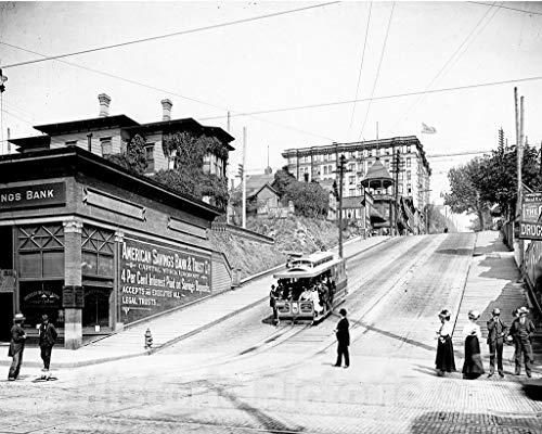 Foto restaurada en blanco y negro – Historic Seattle  Washington – Madison Street Cable Railway  c1902 –