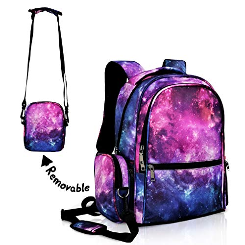 Galaxy Backpack for Girls Boys Purple School Bookbags Water Resistant with Removable Shoulder Bag Rucksack