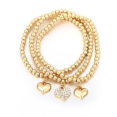 Charm armband, stretch bead armband hart hanger vriendschap armband manchet armband voor meisjes met CZ Crystal