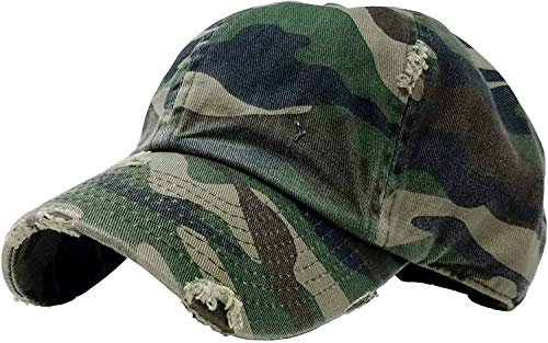 Distressed Dad Hat Vintage Low Profile Baseball Cap - Green Camo