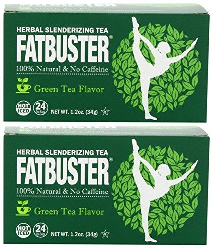 Fatbuster Herbal Slenderizing Tea Green Tea Flavor - Weight Loss Diet Tea, 24-Count Tea Bags (Pack of 2) (Green Tea)