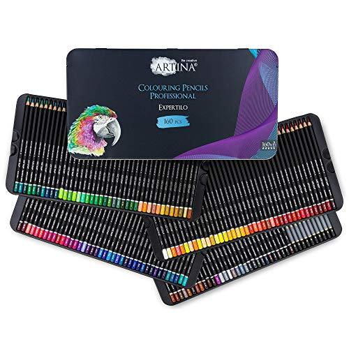 Artina Expertilo XXL Buntstifte Set 160er Professionell - FSC®-zertifiziertes Stifte Set Farbstifte bruchsicher, hoch pigmentiert, viele bunte Holzstifte für Künstler zum Zeichnen und Malen