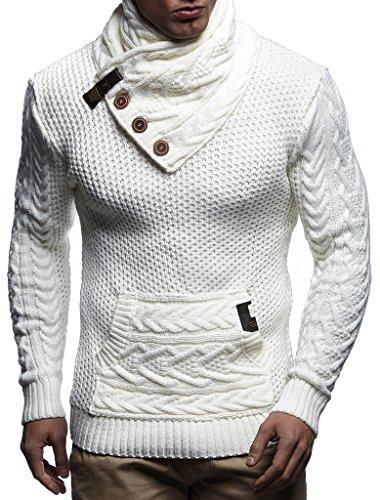 Leif Nelson Herren Strick-Pullover Strick-Pulli mit Schalkragen Moderner Winter Woll-Pullover mit Knöpfen LN7095 Ecru Medium