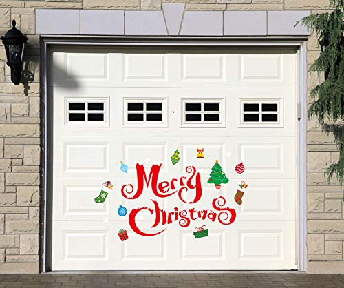 Whaline Christmas Garage Decoration Stickers 30Pcs Garage Door Decals Non-Magnetic Merry Christmas Xmas Tree Snowflake Reusable PVC Stickers with Foam Tape for Fridge Window Wall Xmas Holiday Party Decor Supplies
