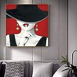 KWzEQ Fille de Mode, Art sur Toile avec Chapeau Noir, Toile de modèle Populaire avec des lèvres Rouges-Peinture sans cadre50X50cm
