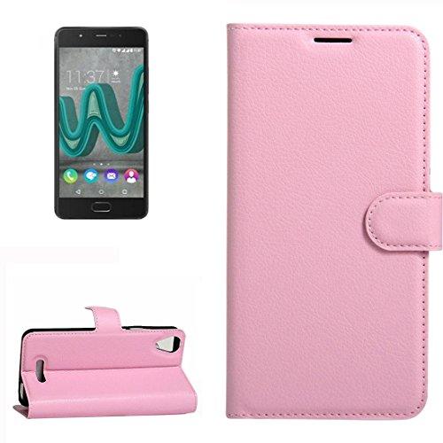 YUCPING Handyhülle Litchi Texture Horizontal Riff Ledertasche Mit Halter und Card Slots und Geldbörse for Wiko U Feel Go (Color : Pink)