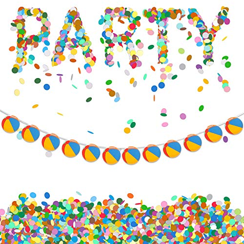 2 Pieces Beach Ball Garland Pool Ball Garland Banner Summer Pool Theme Hanging Garland for Summer Party Birthday Baby Shower Party Decoration Supplies