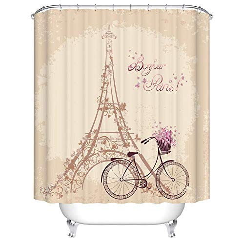 不适用 Bad Vorhang Duschvorhang Extra Wide Mold Proof Fahrrad Paris Tower Home Decoration