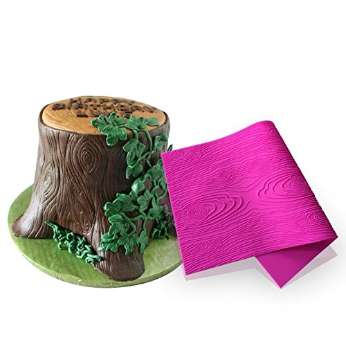 AK ART KITCHENWARE Woodgrain Fondant Impression Mat Silicone Cake Lace Mold Color Pink BLM-23U