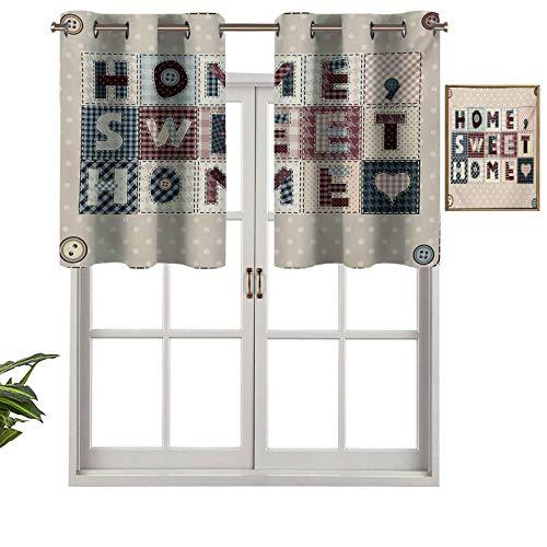 Hiiiman Cortinas opacas para ventana, estilo patchwork, con letras sobre botones de lunares retro, juego de 2, 106,7 x 91,4 cm, para interior, sala de estar, comedor, dormitorio