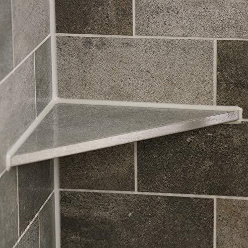 THiRi-ECK Eckablage Duschablage ohne Bohren für Bad befliesbar V2A Edelstahl (185 x 185 x 261,63 mm)