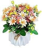 Hrbtag Crisantemo Artificial, Flor Artificial para Decoracion Flores Artificiales de Seda para Boda, Oficina en Casa, Fiesta, Hotel, Ventana, Alféizar, Mesa, Centros de Mesa, Arreglos Florales