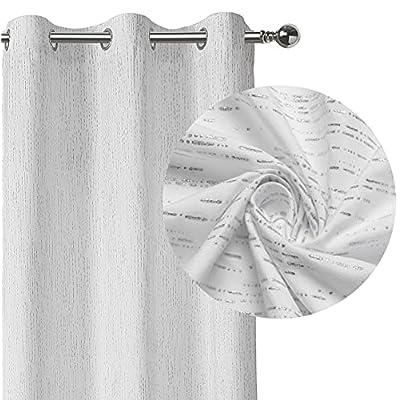 White Striped Semi Sheer 63 Inches Long Window ...