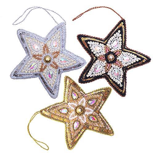 Megadi Christmas Ornaments Set, 3 Stars Gold, Silver, Black, Handmade Xmas Tree Decorations, Sparkly Decor