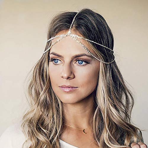 Aukmla Silver Headdress Boho Headchain Double Layer Sequin Head Chain with Crystal Dainty Hair Jewelry Accessory for Women and Girls 1