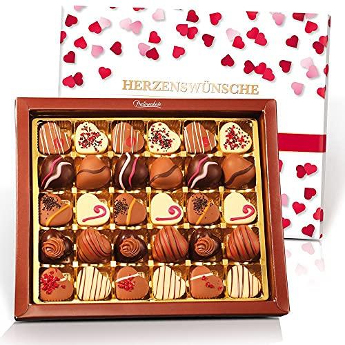 Pralinenbote – Herzenswünsche mit 30 handgefertigten Pralinen Herzen deutscher Chocolatiers, das Pralinen Geschenk (30 Pralinen, 400 Gramm)