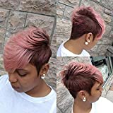 Ombre Pink Pixie Wig Short Layered Natural Synthetic Wig with Bangs Short Ombre pink Pixie Cut Hair Wigs For Women Short brown Wigs For Black Women African American Women Wigs