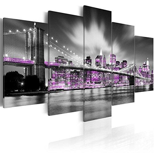 murando Acrylglasbild New York 200x100 cm 5 Teilig Wandbild auf Acryl Glas Bilder Kunstdruck Moderne Wanddekoration - Stadt City Panorama grau violett Brücke d-C-0017-k-m