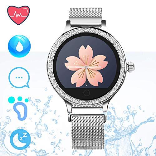 IP68 Fitness Tracker Smart Watch – Schrittzähler Uhr Smart Armband mit Herzfrequenz Schlaf Tracker Kalorienzähler Smartwatches für Frauen Anruf SMS Push Kompatibel für Android iOS (Silber)