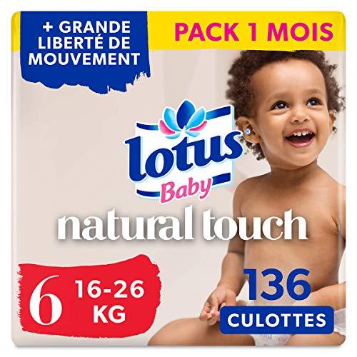 Lotus Baby Natural Touch - Culottes Taille 6 (16-26 kg) - lot de 4 packs de 34 culottes (x136 culottes)