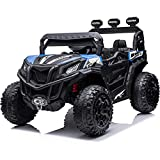 sopbost Ride On UTV Buggy for Kids 12V 10AH Battery Powered Car Ride on Electric Cars Trucks with Remote Control Ride on Toys with Spring Suspension Key Start, LED Lights MP3 Music, Blue